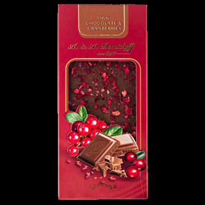 шоколад A&A Demidoff Молочный с клюквой 90 г 1 уп.х 10 шт.