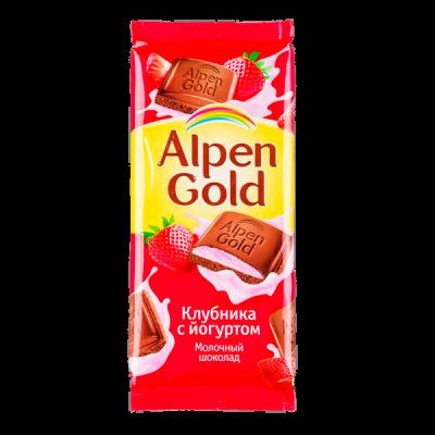 шоколад Альпен Гольд Клубника Йогурт 85 г 1 уп.х 21 шт.