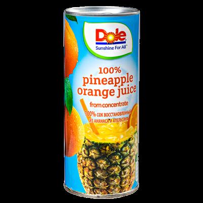 сок Dole 100% ананас апельсин 250 мл ж/б 1 уп.х  24 шт.