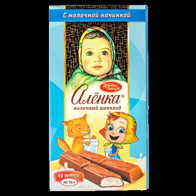 шоколад Аленка Порционный с молочной начинкой 100 г 1 уп.х 17 шт.