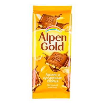 шоколад Альпен Гольд Арахис Кукуруза 90 г 1 уп.х 20 шт.