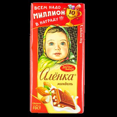 шоколад Аленка Миндаль 90 г 1уп.х 15 шт.