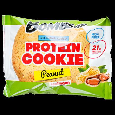 Печенье Bombbar протеиновое с коллагеном Peanut 60 г 1 уп.х 10 шт.