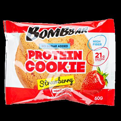 Печенье Bombbar протеиновое с коллагеном Strawberry 60 г 1 уп.х 10 шт.