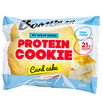 Печенье Bombbar протеиновое с коллагеном Curd cake 60 г 1 уп.х 10 шт.