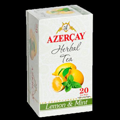 чай АЗЕРЧАЙ Лимон и Мята 20 пакетиков с конвертом 1 уп.х 24 шт.