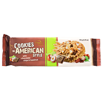 печенье Bogutti AMERICAN STYLE шоколадная крошка/фундук 135 г 1 уп.х 18 шт.