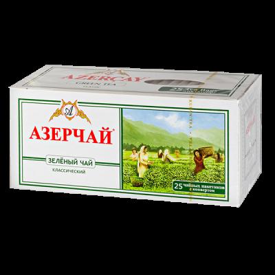 чай АЗЕРЧАЙ Зеленый классический 25 пакетиков с конвертом 1 уп.х 24 шт.