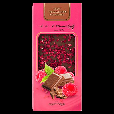 шоколад A&A Demidoff Молочный с малиной 90 г 1 уп.х 10 шт.