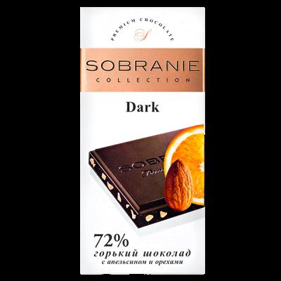 шоколад SOBRANIE 72% Горький Апельсин и Орехи 90 г 1уп.х 10шт