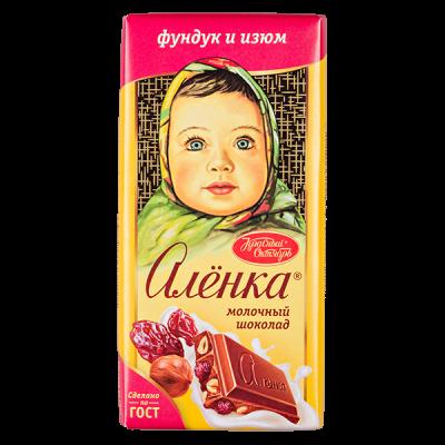 шоколад Аленка Фундук Изюм 90 г 1уп.х 15 шт.