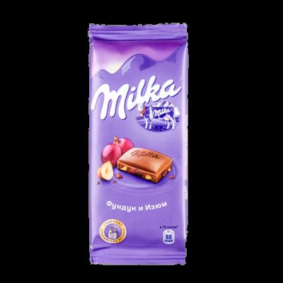 шоколад Милка Фундук Изюм 85 г 1 уп.х 20 шт.