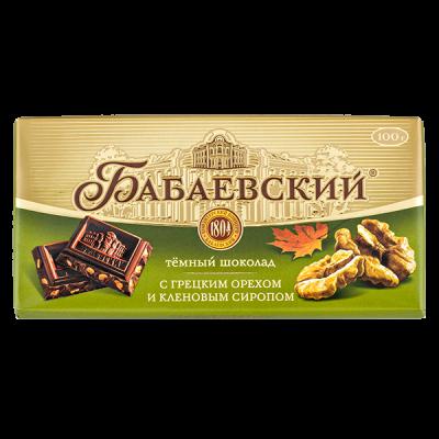 шоколад Бабаевский Темный Грецкий орех Кленовый сироп 100 г 1уп.х 17 шт.
