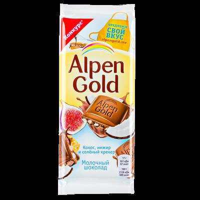 шоколад Альпен Гольд Кокос Инжир Соленый крекер 85 г 1 уп.х 20 шт.