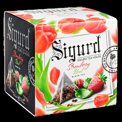 чай SIGURD 'STRAWBERRY BASIL' 15 пирамидок/саше-конверт 1 уп.х 8 шт.