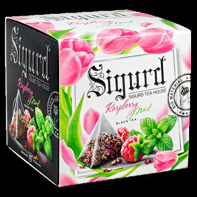 чай SIGURD 'RASPBERRY MINT' 15 пирамидок/саше-конверт 1 уп.х 8 шт.