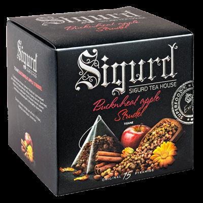 чай SIGURD 'BUCKNHEAT APPLE STRUDEL' 15 пирамидок/саше-конверт 1 уп.х 8 шт.
