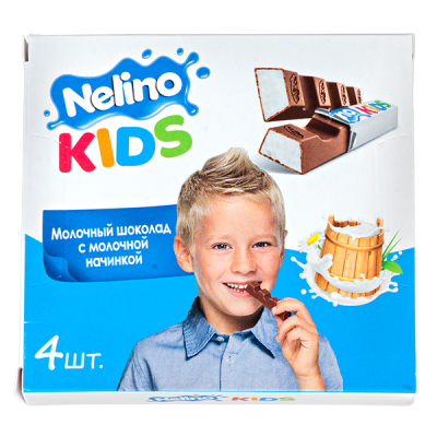 шоколад Nelino KIDS с молочной начинкой 50 г 1уп.х 20шт