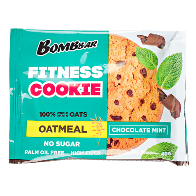 Печенье Bombbar FITNESS COOKIE chocolate mint 40 г 1 уп.х 12 шт.