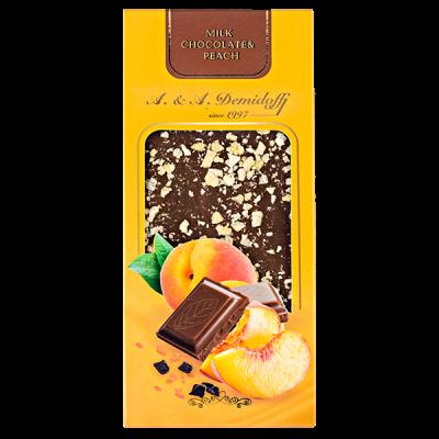 шоколад A&A Demidoff Молочный с персиком 90 г 1 уп.х 10 шт.