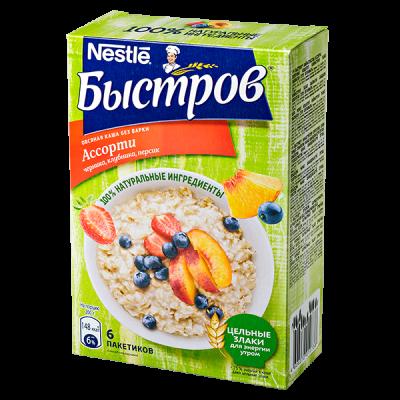 Каша Быстров Ассорти Овсяная Черника, Клубника, Персик 6 пакетиков по 40 г