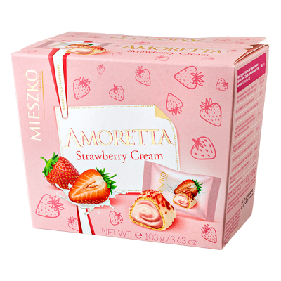 конфеты MIESZKO  AMORETTA Strawberry Cream 103 г 1 уп.х 16 шт.