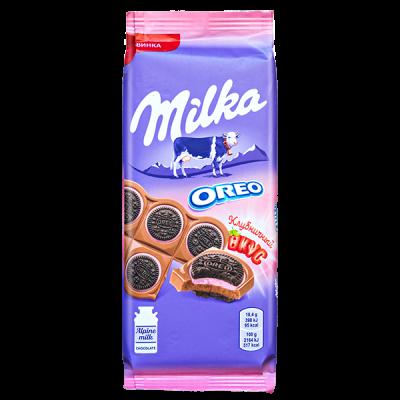 шоколад Милка Oreo Sandwich Клубничный вкус 92 г 1 уп.х 16 шт.