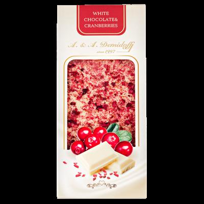 шоколад A&A Demidoff Белый с клюквой 100 г 1 уп.х 12 шт.