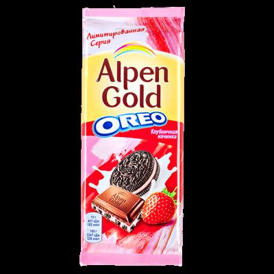 шоколад Альпен Гольд Орео Клубничная начинка 95 г 1 уп.х 19 шт.