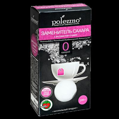 POLEZZNO заменитель сахара с экстрактом стевии 200 г 1уп.х 21 шт.