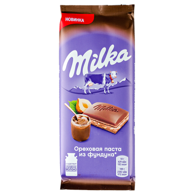 шоколад Милка Ореховая паста из фундука 85 г 1 уп.х 20 шт.
