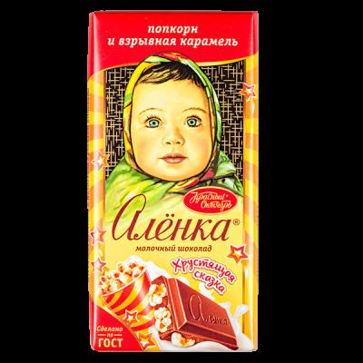 шоколад Аленка Хрустящая сказка Поп-корн+Взрывная карамель 90 г 1уп.х 15 шт.