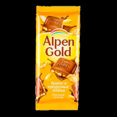 шоколад Альпен Гольд Арахис и Кукурузные хлопья 85 г 1 уп.х 21 шт.