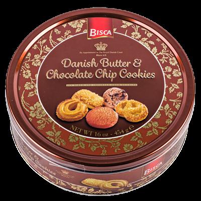 печенье BISCA Danish Butter & Chocolate Chip Cookies 454 г ж/б 1 уп.х 12 шт.