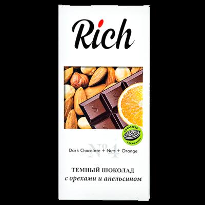 шоколад RICH Темный с орехами и апельсином 70 г 1уп.х 10шт.