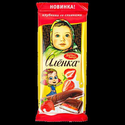 шоколад Аленка клубника со сливками 87 г 1уп.х 10шт.