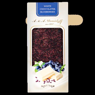 шоколад A&A Demidoff Белый с черникой 100 г 1 уп.х 12 шт.