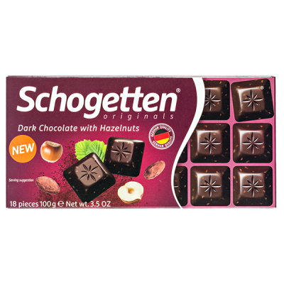 шоколад SCHOGETTEN Dark Chocolate with Hazelnuts 100 г 1уп. х 15шт.