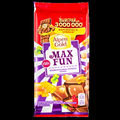 шоколад Альпен Гольд Макс Фан Взрывная карамель Мармелад и Печенье 150 г 1уп.х 14шт.