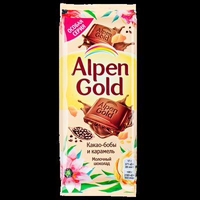 шоколад Альпен Гольд Какао-бобы и карамель 85 г 1 уп х 21 шт.