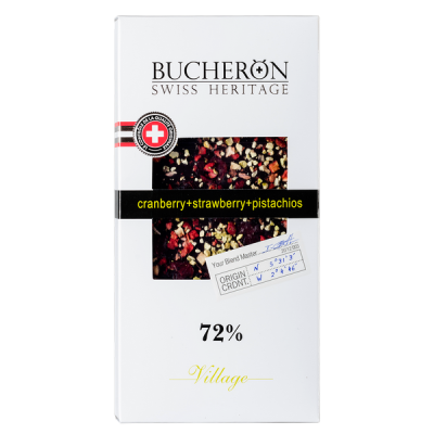 шоколад BUCHERON VILLAGE 72% Клюква Клубника Фисташка 100 г 1уп.х 10шт