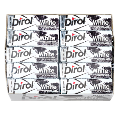 жевательная резинка Дирол White уголь-мята 1 уп.х 30 шт.