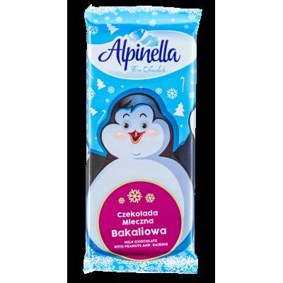 шоколад  ALPINELLA молочный с арахисом и изюмом 90 г 1уп.х 25 шт