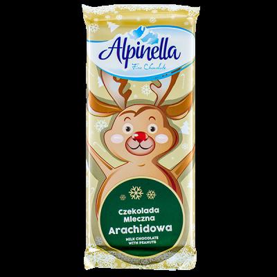 шоколад  ALPINELLA молочный с арахисом 90 г 1уп.х 25 шт