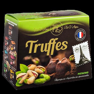 конфеты MATHEZ PoD'Aree Трюфель с кусочками фисташки 160 г 1 уп.х 12 шт.