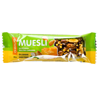 Батончик CHIKALAB MUESLI Almonds+Salted Caramel 40 г 1 уп.х 12 шт.