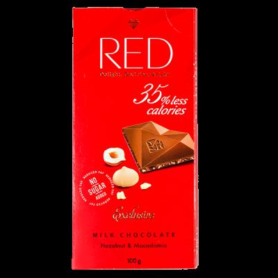 шоколад RED Delight MILK Hazelnut & Macadamia 100 г 1 уп. х 20 шт.
