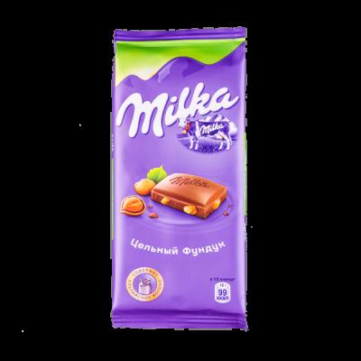 шоколад Милка Цельный Фундук 85 г 1 уп.х 19 шт.