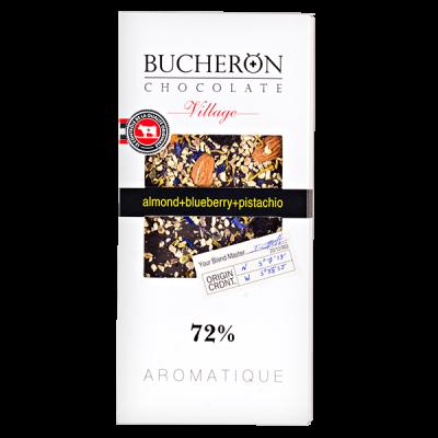 шоколад BUCHERON VILLAGE 72% Миндаль Черника Фисташка 100 г 1уп.х 10шт