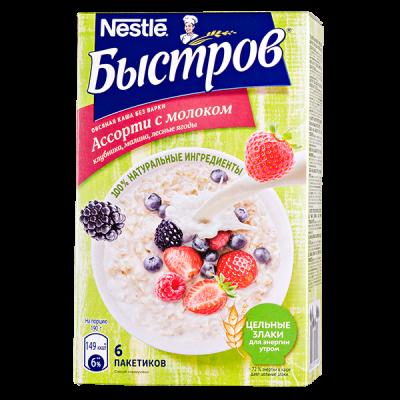 Каша Быстров Ассорти с молоком 6 пакетиков по 40 г